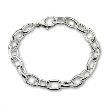 Sterling Silver Braided Links & Hinges Bracelet