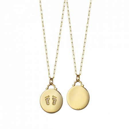 18K Gold Baby Feet Charm Necklace