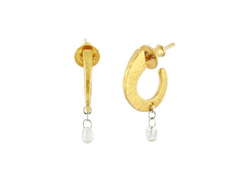 24K Gold Diamond Classic Dew Hoop Earrings