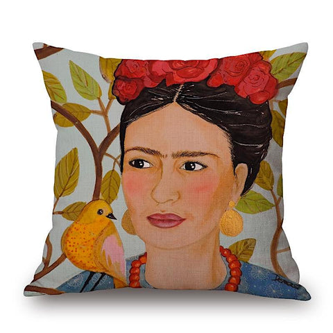 Frida Kahlo Pillow with yellow bird