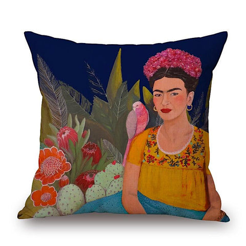 Frida Kahlo Pillow with Pink Bird by Sylvie Demers