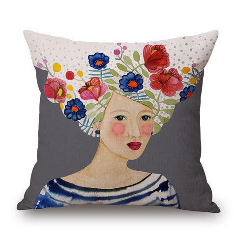 Lady with Brown Background Pillow by Sylvie Demers