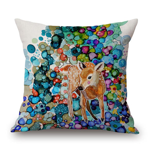 Fawn Pillow with Multicoloured Background by Sylvie Demers