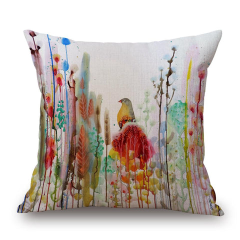 Yellow/Red Bird Watercolour Pillow by Sylvie Demers