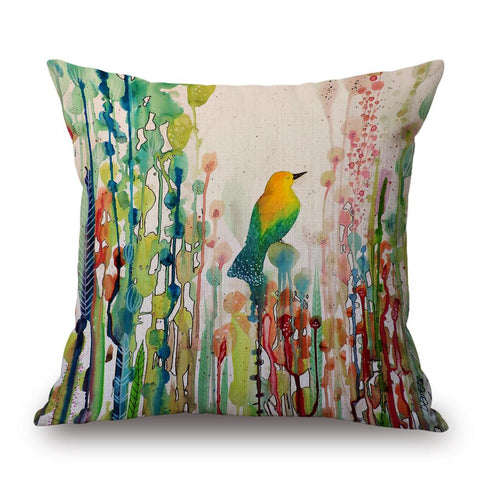 Yellow/Teal Bird Watercolour Pillow by Sylvie Demers