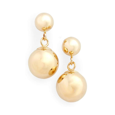 14K Yellow Gold Double Ball Earrings