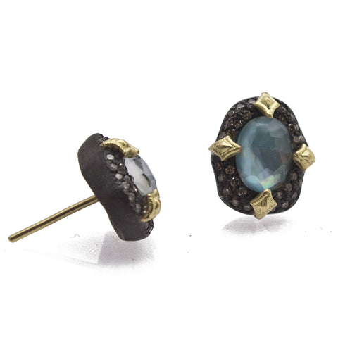18K Gold & Oxidized Sterling Silver Peruvian Opal Doublet & Champagne Diamond Stud Earrings