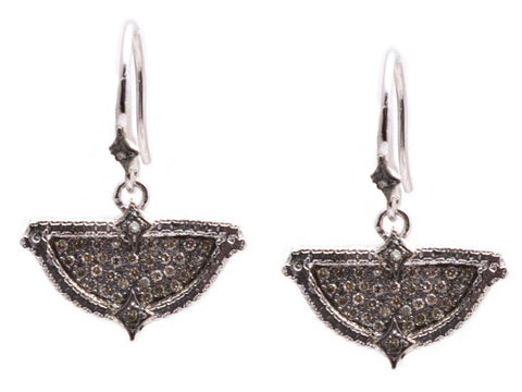 Blackened Sterling Silver & Champagne Diamonds, Half-Circle Pointed Earrings