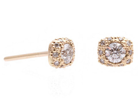 14K Gold With White Diamonds Circle Stud Earrings