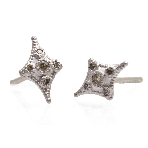 Sterling Silver Champagne Diamond Petite Cravelli Stud Earrings