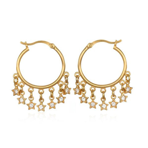 Gold Plate White Topaz Star Hoop Earrings