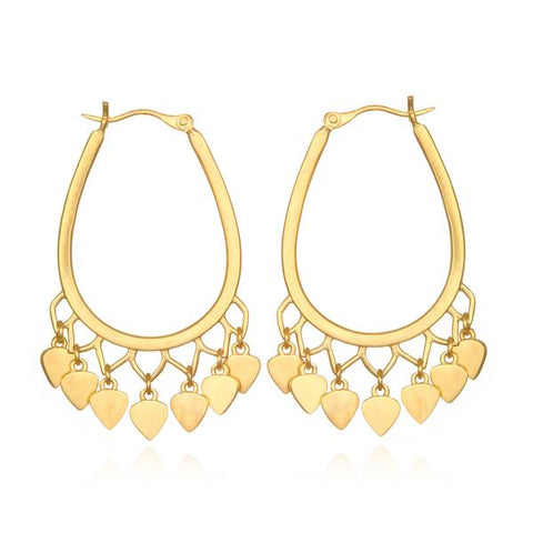 Gold Plate Lotus Petal Drop Hoop Earrings