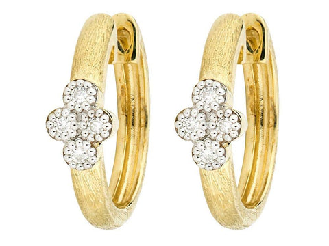 18K Yellow Gold & Pave Diamonds 'Provence' Small Hoop Earrings