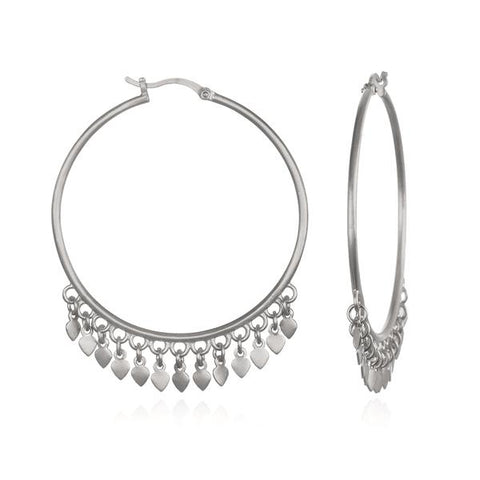 Sterling Silver Lotus Petal Hoop Earrings