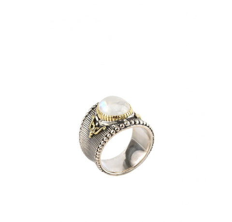 Sterling Silver & 18K Gold Moonstone Ring
