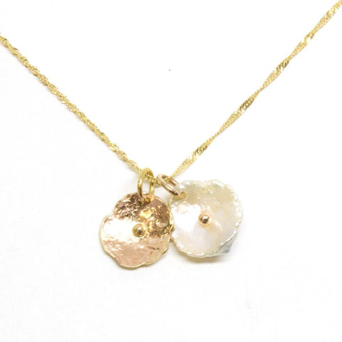 14K Gold Duo Petal Pearl Pendant Necklace