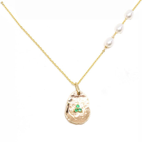 14K Gold Gold Petal Emerald Pendant Necklace