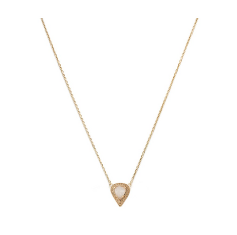 Gold Plate Moonstone & CZ Lyra Necklace