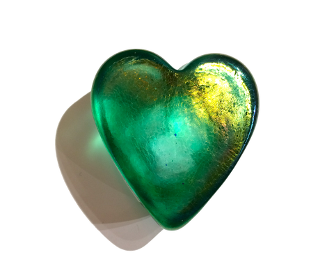Green Iridescent Heart Paperweight, Small