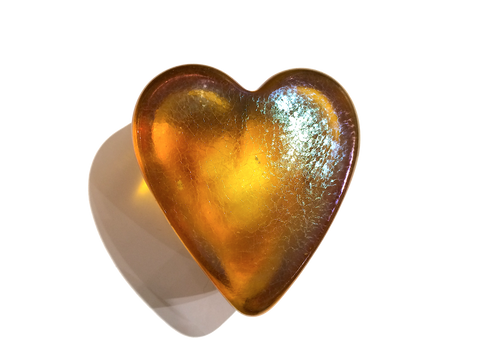 Yellow Iridescent Heart Paperweight, Small