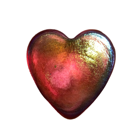 Red Iridescent Heart Paperweight, Small