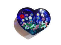 Cobalt Blue & Emerald Heart Paperweight, Large