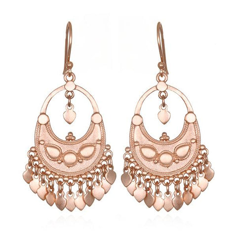Rose Gold Plate Lotus Petal Chandelier Earrings