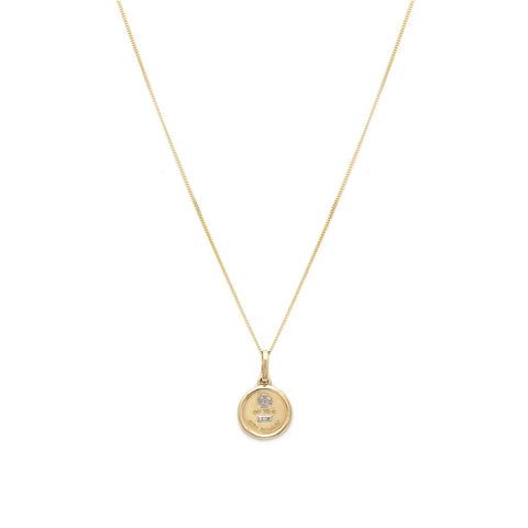 Love Token - 14K Gold Diamond Round Necklace