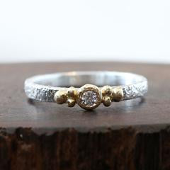 Sterling Silver & 18K Gold Diamond 3 Ball Ring
