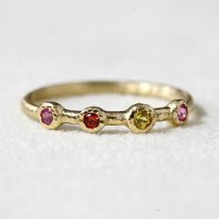18K Gold Orange, Pink, Yellow Sapphire Ring