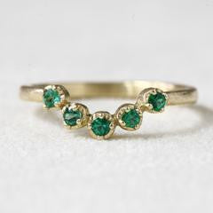 18K Gold Emerald Muguet Ring