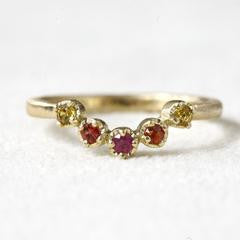 18K Gold Pink, Orange, Yellow Sapphire Ring