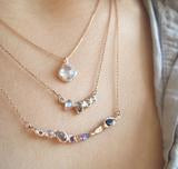 14K Rose Gold, Sapphire, Rainbow Moonstone, labradorite, amethyst, tanzanite 'Ama Unicorn' Necklace