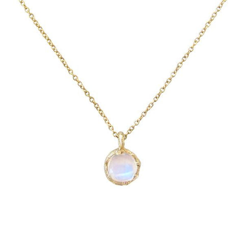 14K Gold Rose Cut Rainbow Moonstone Fire Coral Necklace
