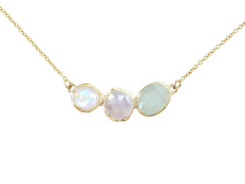 14K Gold Rose Cut Rainbow Moonstone, Lavender Chalcedony & Aquamarine Stepping Stone Necklace