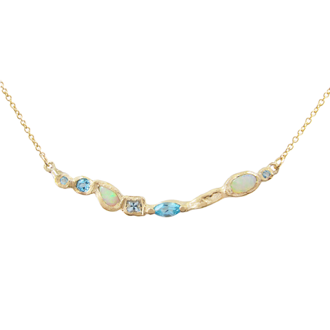 14K Yellow Gold, Blue Topaz, Aquamarine, Opal 'Ama Mermaid' Necklace