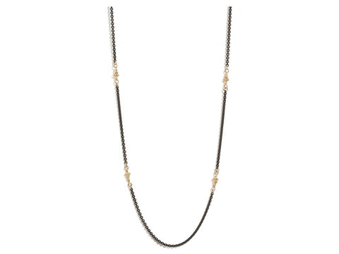 18K Gold & Oxidized Sterling Silver, White Diamond, Mini Dagger Station Necklace Chain