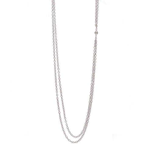 Sterling Silver Champagne Diamond Double Strand Necklace