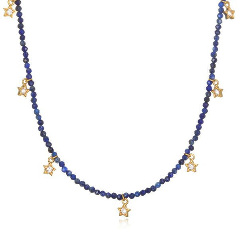 Gold Plate Sodalite & White Topaz Choker Necklace