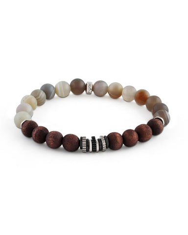 Sterling Silver, Striped Grey Agate Beads With Wood Beads, Java Frost Large Bracelet