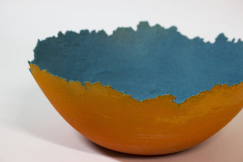 Medium Sculpted Orange Glass Bowl
