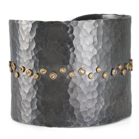 Blackened Sterling Silver & 22K Gold Diamond Stream Cuff