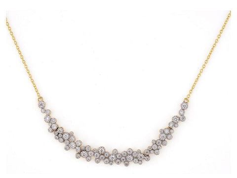 18K Gold & Champagne Diamond Cluster, Curved Bar necklace