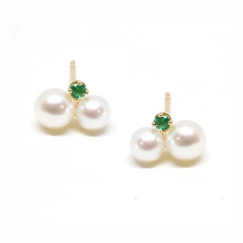 14K Gold Double Pearl Emerald Stud Earrings