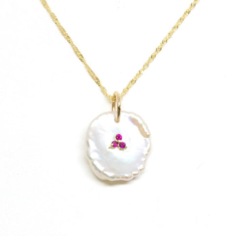 14K Gold Petal Pearl Ruby Pendant Necklace