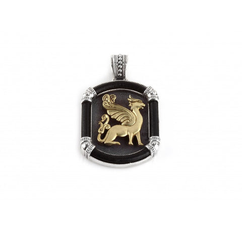 Sterling Silver & Bronze Griffin Leather Pendant