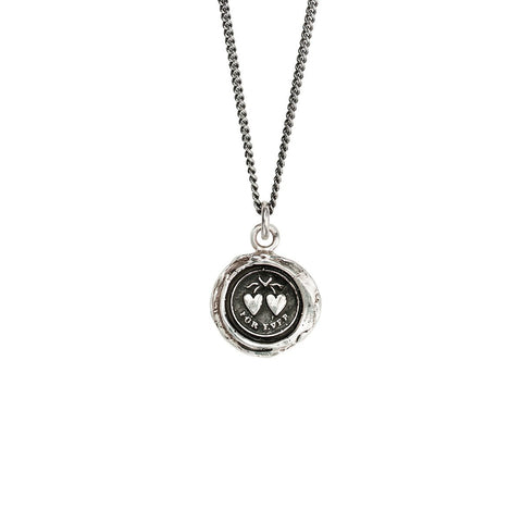 Sterling Silver Hearts Talisman Necklace