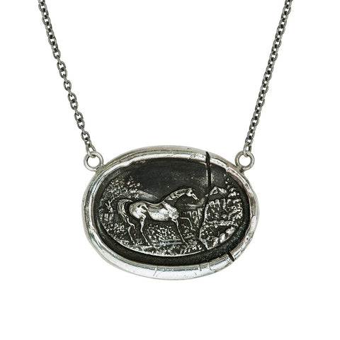 Sterling Silver Horse Cameo Talisman Necklace