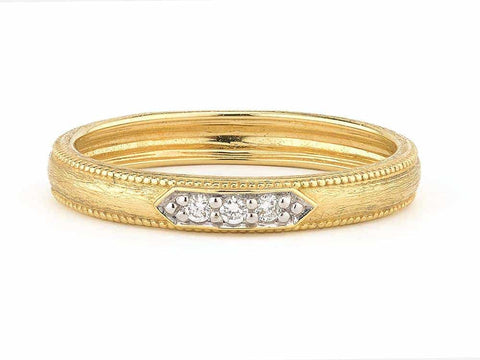 18K Yellow Gold & Pave Diamonds 'Lisse' Ring