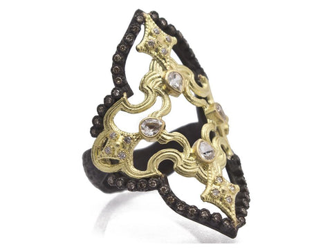 18K Gold & Oxidized Sterling Silver With White & Champagne Diamonds Open Scroll Ring
